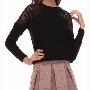 NEW Honey Punch Black Embroidered Knit Sweater